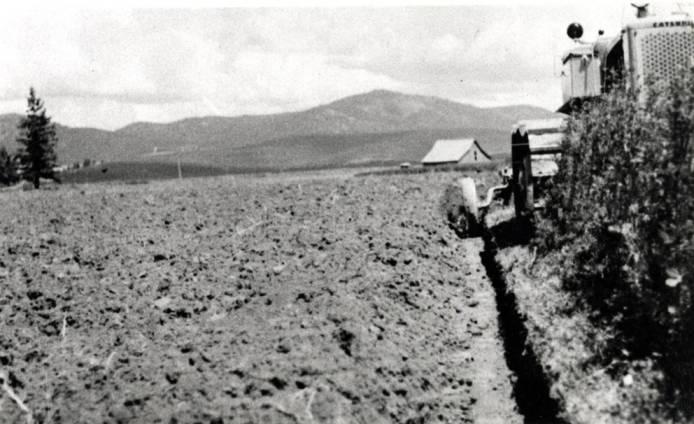 item thumbnail for Trail plowing clover on Summerfield farm, circa 1963