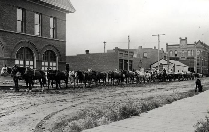 item thumbnail for Twenty horses pulling three wagons used to haul wool