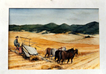 item thumbnail for Painting of agricultural scene showing four horse team during harvest