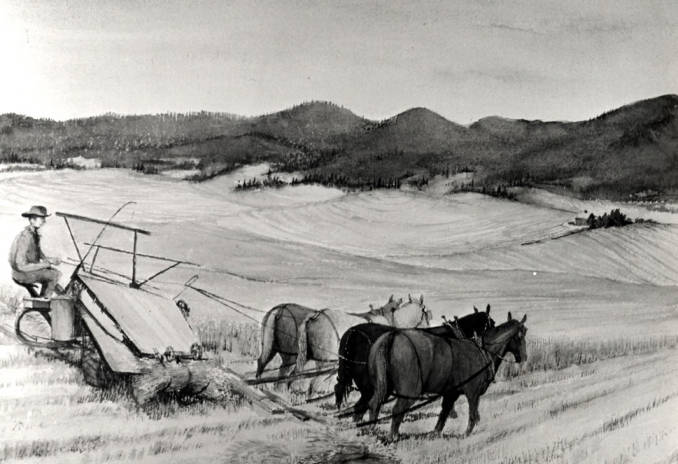 item thumbnail for Painting of agricultural scene in black and white