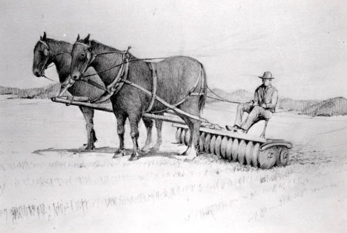 item thumbnail for Two horse team with driver in black and white