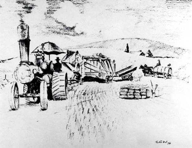item thumbnail for Drawing depicting a threshing outfit