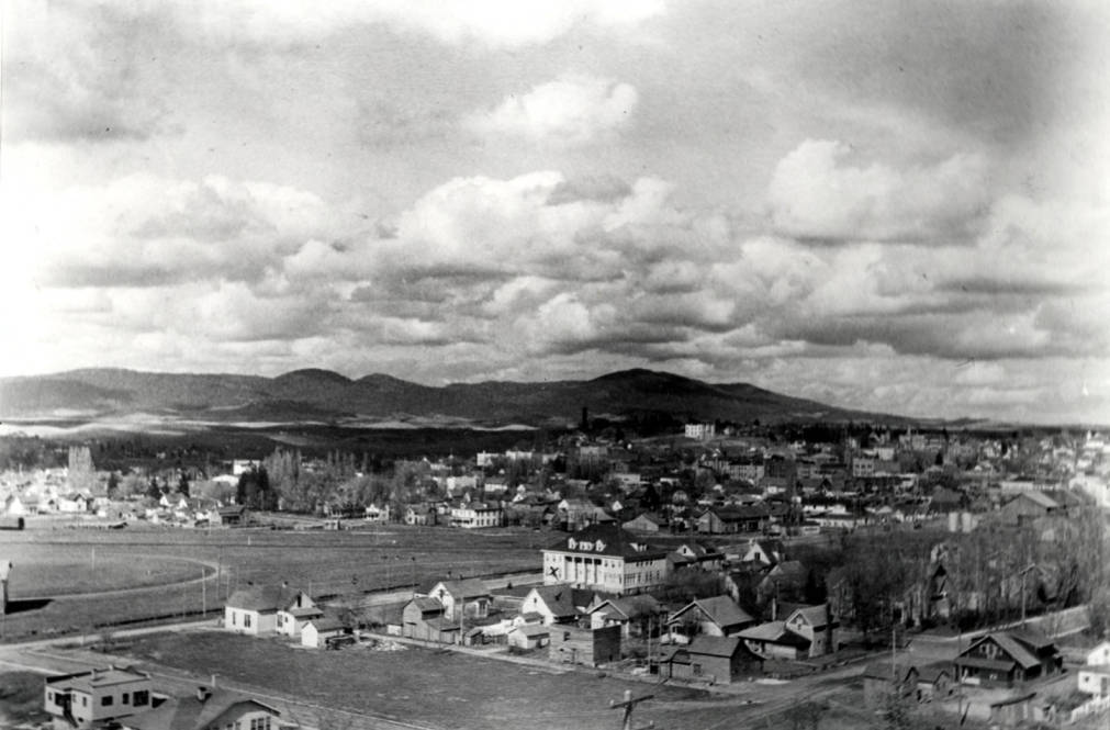 item thumbnail for Aerial, looking northeast from Morrill Hall, circa 1924