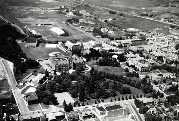 item thumbnail for Aerial view of Moscow, looking northwest at campus