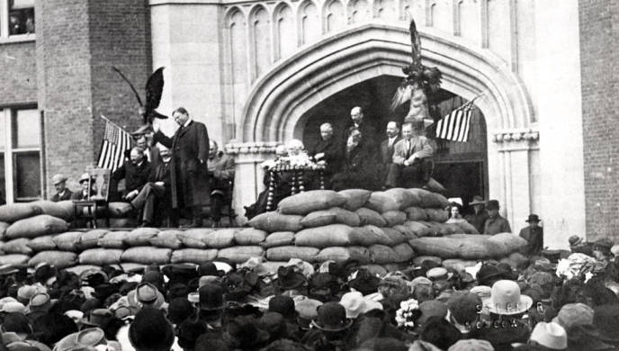 item thumbnail for University of Idaho administration building during Roosevelt's speech