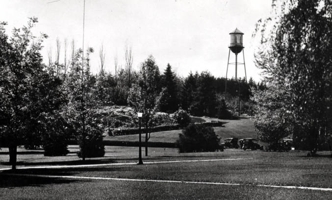 item thumbnail for University of Idaho, showing old water tank and arboretum