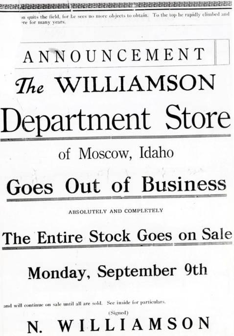item thumbnail for Williamson store closing announcement