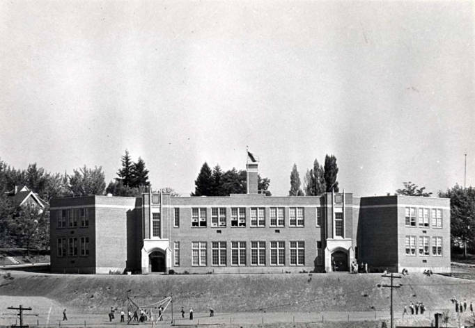 item thumbnail for Russell School, circa 1928 at E A Street and N Adams Street