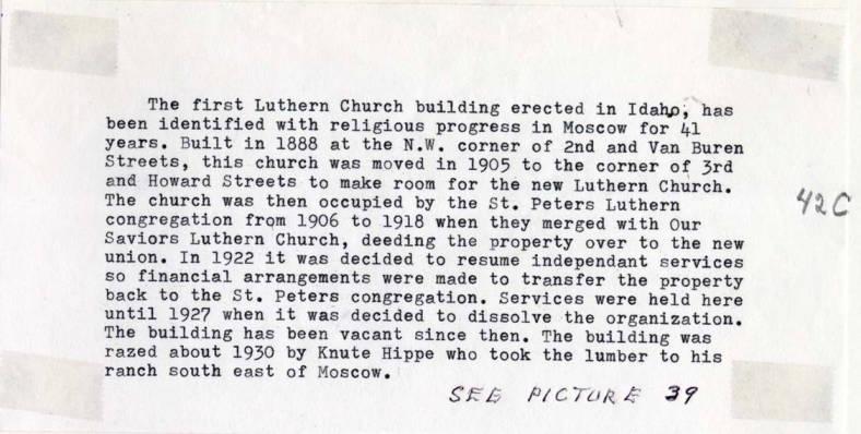 item thumbnail for Textual material regarding first Lutheran Church building erected in Idaho