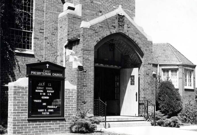 item thumbnail for Presbyterian Church building with new bulletin board