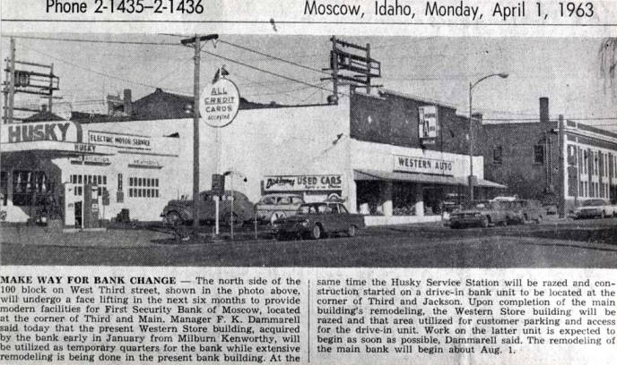 item thumbnail for Husky service station at N 3rd St before being razed to build First Security Bank