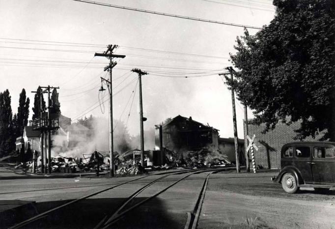 item thumbnail for Washburn-Wilson Seed Company smoldering ruins