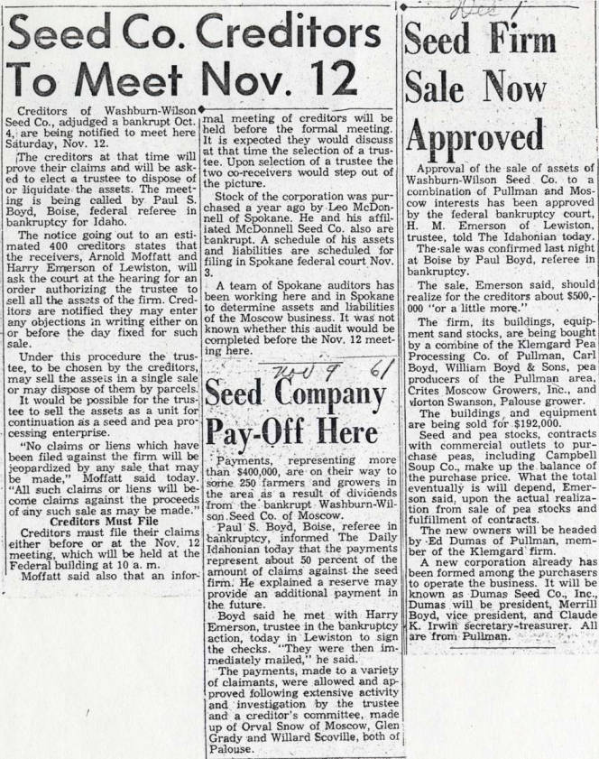 item thumbnail for Newspaper articles relating to Washburn-Wilson Seed Company