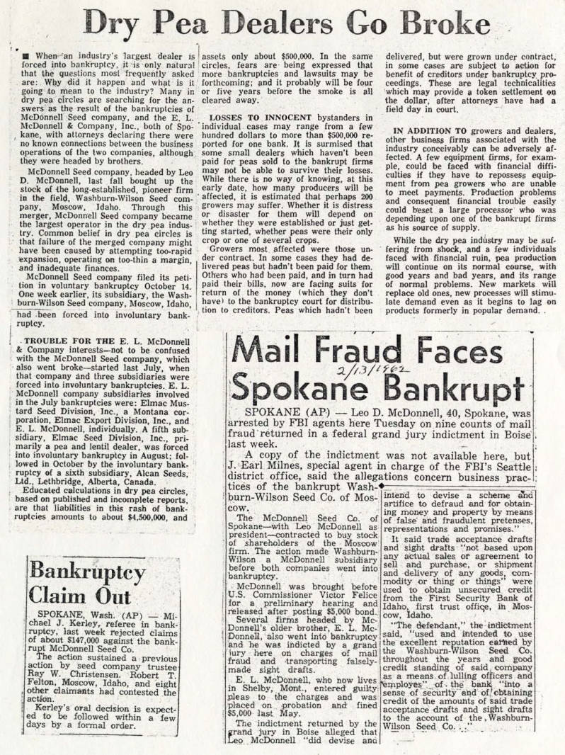 item thumbnail for Newspaper articles relating to the sale of Washburn-Wilson Seed Company