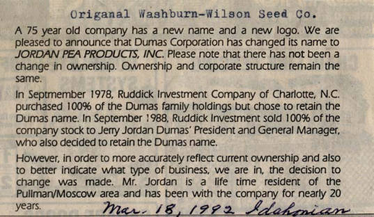 item thumbnail for Announcement of name change from Dumas Corp. to Jordan Pea Products