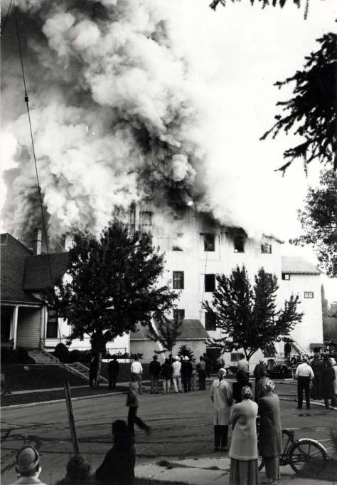 item thumbnail for Washburn-Wilson Seed Company building during fire July 1945