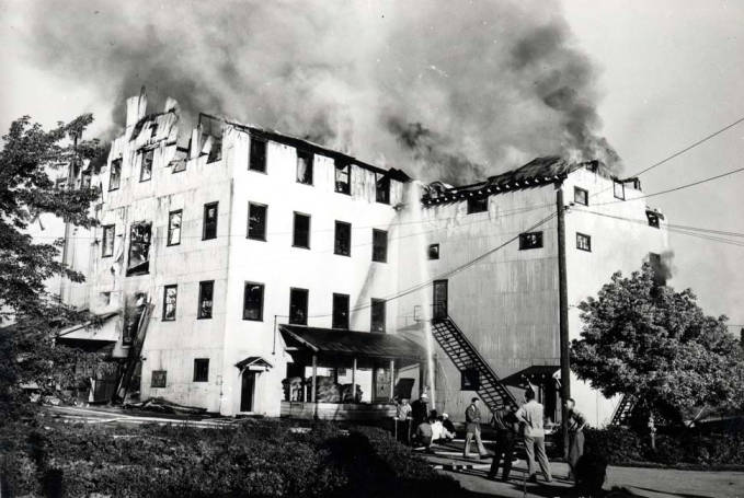 item thumbnail for Washburn-Wilson Seed Company roof on fire July 1945
