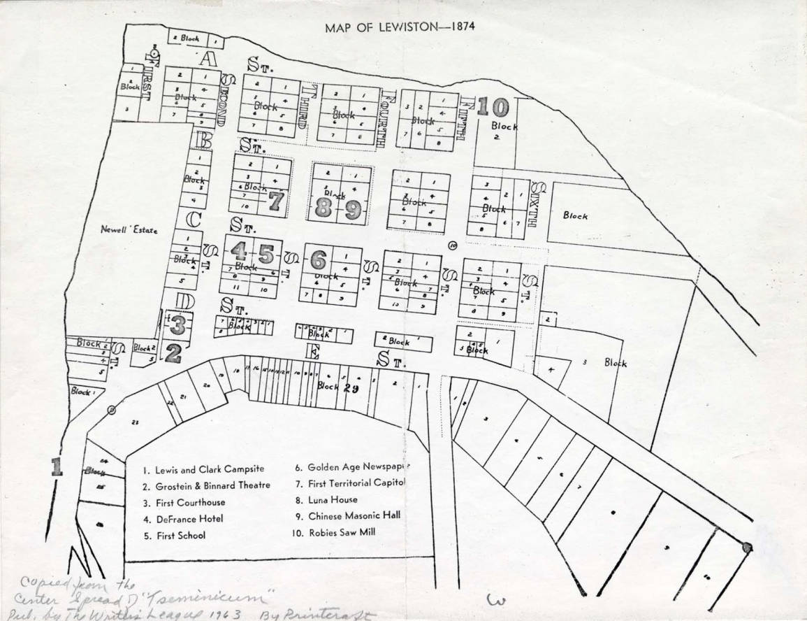 item thumbnail for Map of Lewiston in 1874