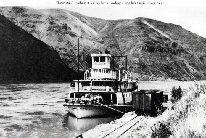 """item thumbnail for Riverboat """"Lewiston"""" at riverbank landing"""