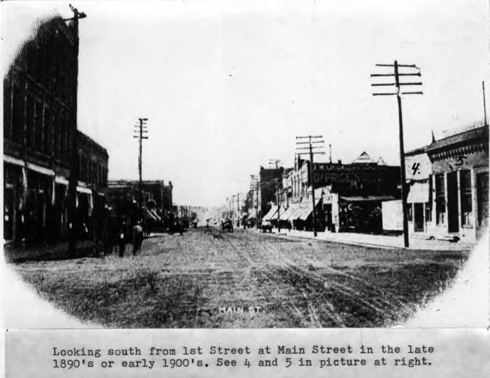 item thumbnail for Looking south from First Street at Main Street in the late 1890s or early 1900s
