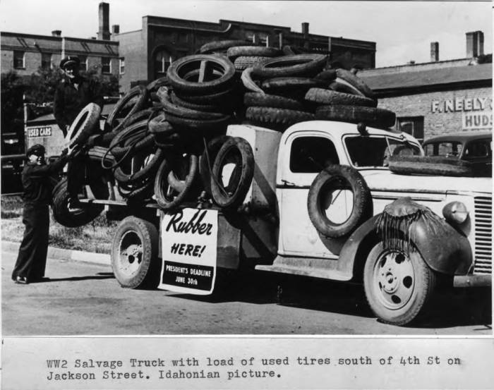 item thumbnail for World War II salvage truck with load of used tires