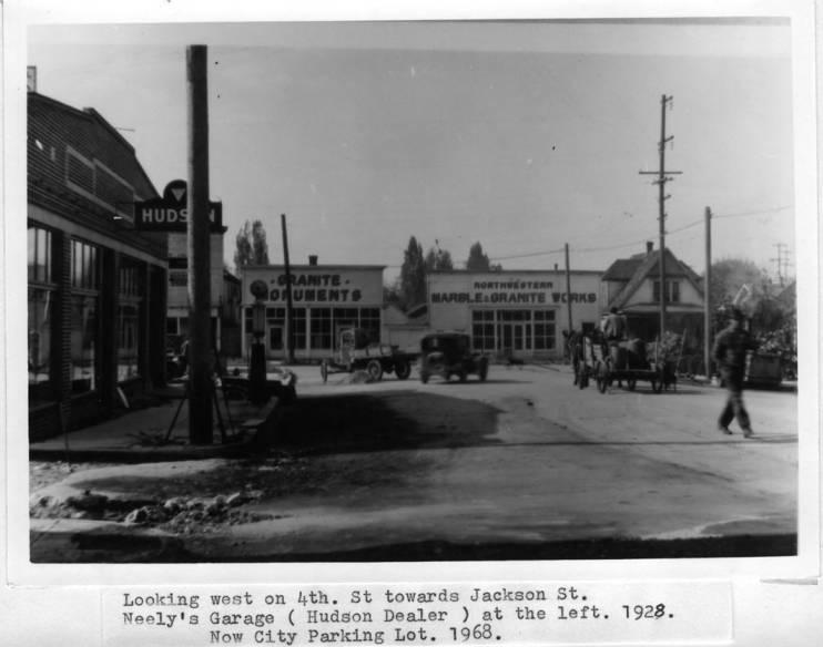 item thumbnail for Looking west on Fourth Street toward Jackson Street, circa 1928