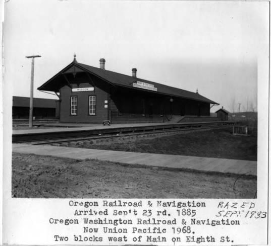 item thumbnail for Oregon Railroad & Navigation depot prior to building being razed