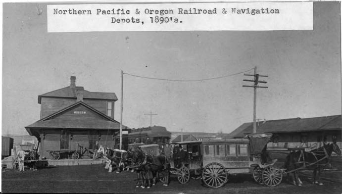 item thumbnail for Northern Pacific and Oregon Railroad & Navigation depots, 1890s