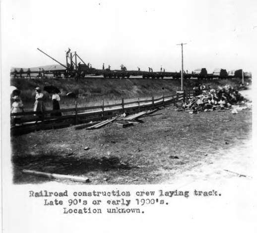 item thumbnail for Railroad construction crew laying track