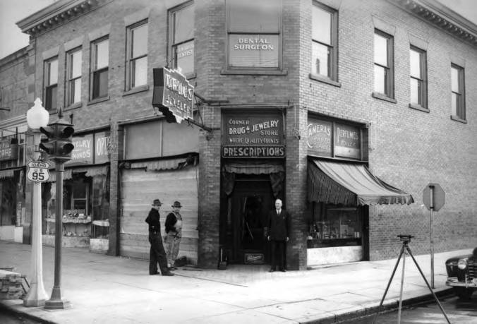item thumbnail for Corner Drug Store, circa 1944