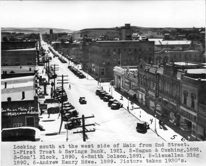 item thumbnail for Looking south at the west side of Main from Second Street