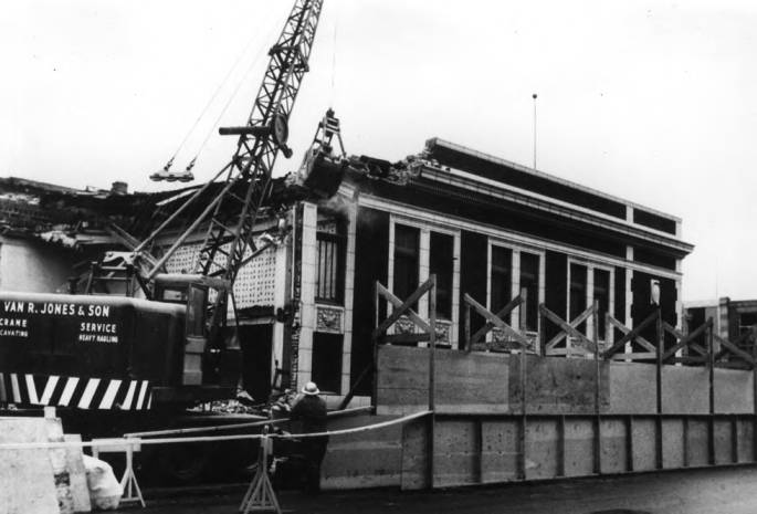 item thumbnail for First Trust & Savings Bank at the northwest corner of Third and Main streets being razed in 1963