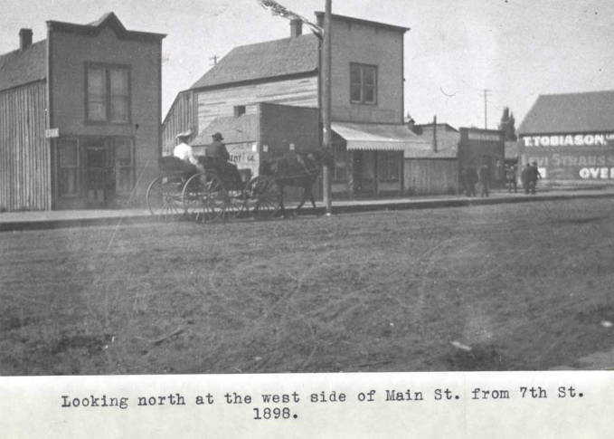 item thumbnail for Looking north at the west side of Main Street from Seventh Street