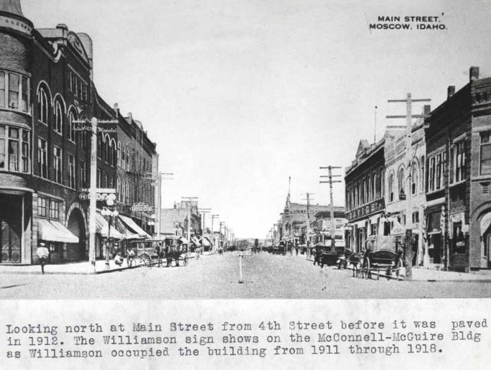 item thumbnail for Looking north at Main Street from Fourth Street before it was paved in 1912