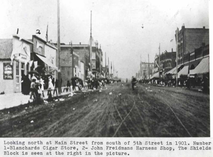 item thumbnail for Looking north at Main Street from south of Fifth Street in 1901