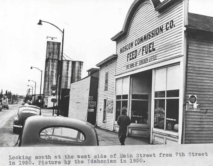 item thumbnail for Looking south at the west side of Main Street from Seventh Street in 1950