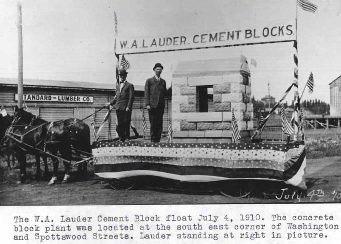 item thumbnail for W.A. Lauder cement block float July 4, 1910