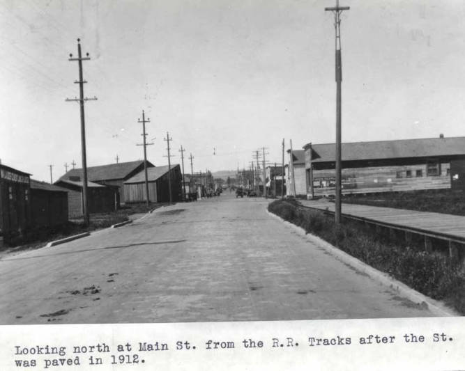 item thumbnail for Looking north at Main Street from the railroad tracks after the street was paved in 1912
