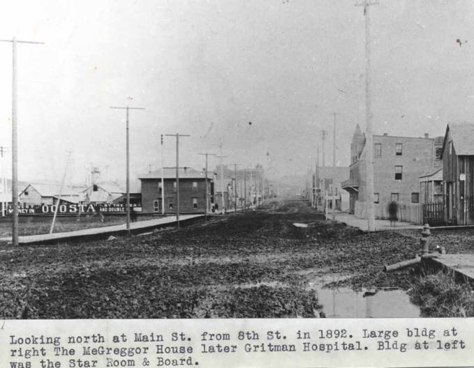 item thumbnail for Looking north at Main Street from Eighth Street in 1892