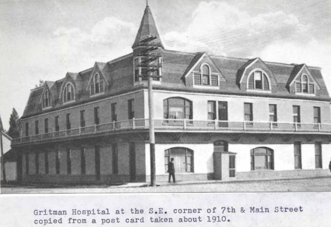 item thumbnail for Gritman [Memorial] Hospital at the southeast corner of Seventh and Main streets