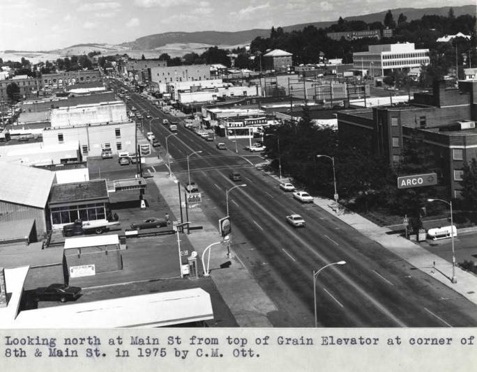 item thumbnail for Looking north at Main Street from top of grain elevator at corner of Eighth and Main streets in 1975