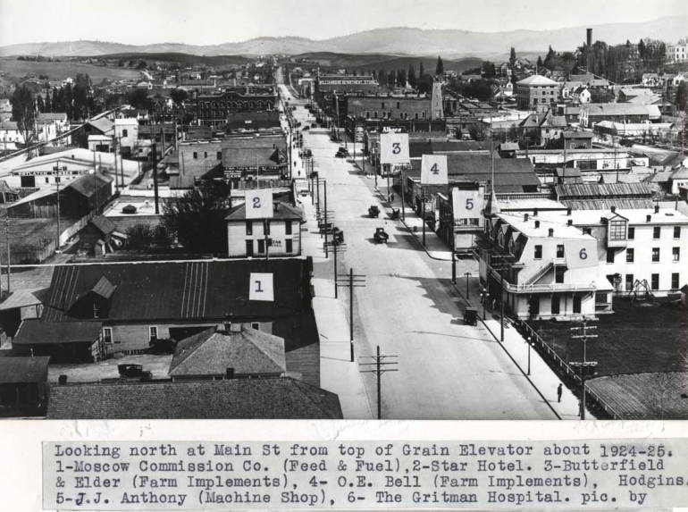 item thumbnail for Looking north at Main Street from top  of grain elevator about 1924