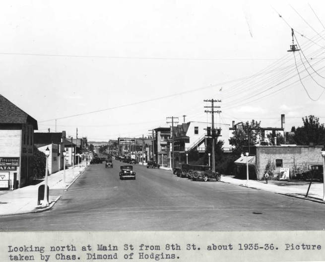 item thumbnail for Looking north at Main Street from Eighth Street, 1935-36