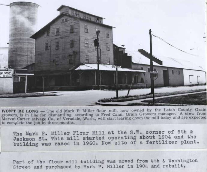 item thumbnail for Newspaper story about Mark P. Miller flour mill