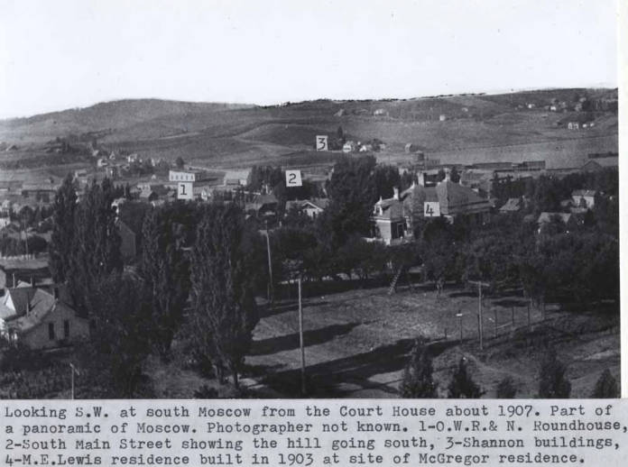 item thumbnail for Looking southwest at south Moscow from the courthouse about 1907