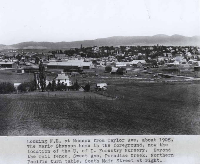 item thumbnail for Looking northeast at Moscow from Taylor Avenue about 1905 [01]