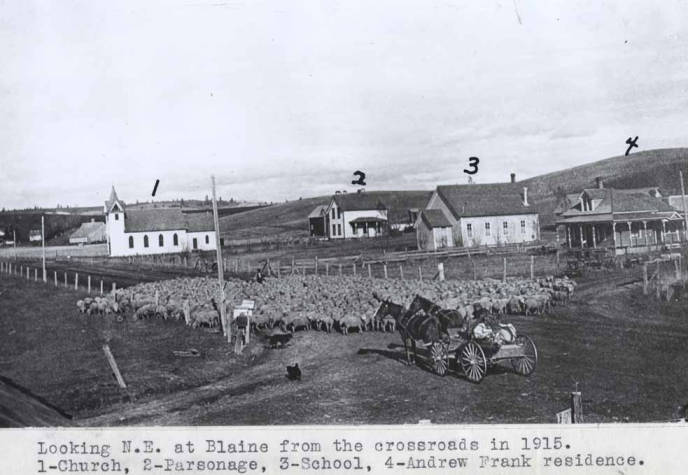 item thumbnail for Looking northeast at Blaine from the crossroads in 1915