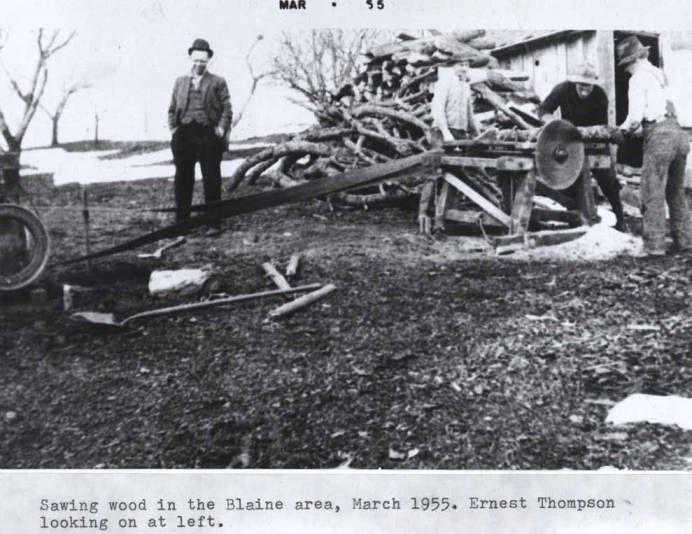 item thumbnail for Sawing wood in the Blaine area, circa 1955