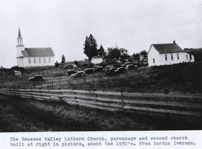 item thumbnail for Genesee Valley Lutheran Church, parsonage and second church, circa 1932.