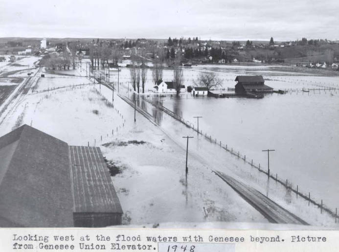 item thumbnail for Looking west at the flood waters with Genesee beyond